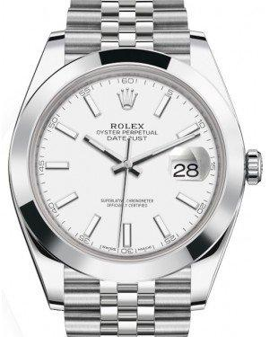 Rolex Datejust 41 Stainless Steel White Index Dial Smooth Bezel Jubilee Bracelet 126300 -  Fresh