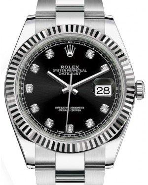 Rolex Datejust 41 White Gold/Steel Black Diamond Dial Fluted Bezel Oyster Bracelet 126334 -  Fresh