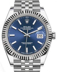 Rolex Datejust 41 White Gold/Steel Blue Index Dial Fluted Bezel Jubilee Bracelet 126334 -  Fresh