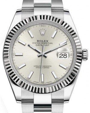 Rolex Datejust 41 White Gold/Steel Silver Index Dial Fluted Bezel Oyster Bracelet 126334 -  Fresh