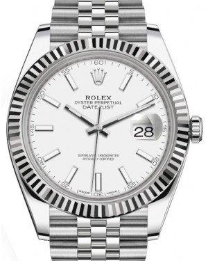 Rolex Datejust 41 White Gold/Steel White Index Dial Fluted Bezel Jubilee Bracelet 126334 -  Fresh