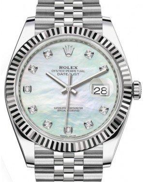 Rolex Datejust 41 White Gold/Steel White Mother of Pearl Diamond Dial Fluted Bezel Jubilee Bracelet 126334 -  Fresh