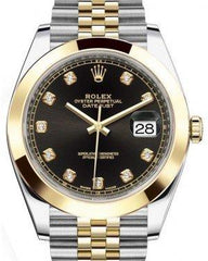 Rolex Datejust 41 Yellow Gold/Steel Black Diamond Dial Smooth Bezel Jubilee Bracelet 126303 -  Fresh