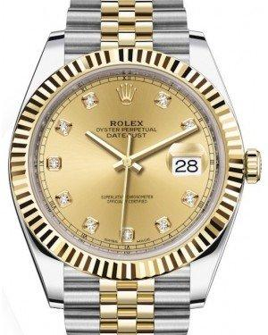 Rolex Datejust 41 Yellow Gold/Steel Champagne Diamond Dial Fluted Bezel Jubilee Bracelet 126333 -  Fresh