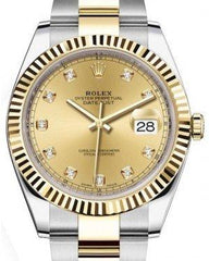 Rolex Datejust 41 Yellow Gold/Steel Champagne Diamond Dial Fluted Bezel Oyster Bracelet 126333 -  Fresh