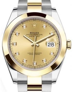 Rolex Datejust 41 Yellow Gold/Steel Champagne Diamond Dial Smooth Bezel Oyster Bracelet 126303 -  Fresh