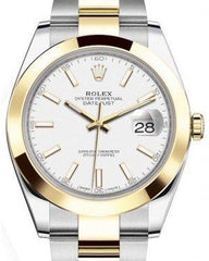 Rolex Datejust 41 Yellow Gold/Steel White Index Dial Smooth Bezel Oyster Bracelet 126303 -  Fresh