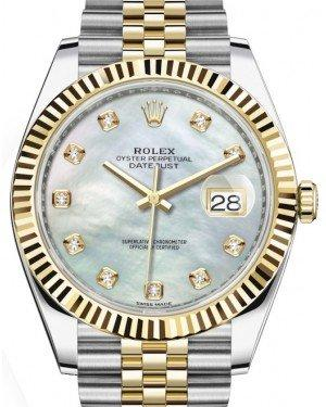 Rolex Datejust 41 Yellow Gold/Steel White Mother of Pearl Diamond Dial Fluted Bezel Jubilee Bracelet 126333 -  Fresh