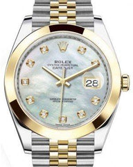 Rolex Datejust 41 Yellow Gold/Steel White Mother of Pearl Diamond Dial Smooth Bezel Jubilee Bracelet 126303 -  Fresh