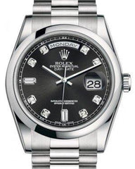 Rolex Day-Date 36 Platinum Black Diamond Dial & Smooth Domed Bezel President Bracelet 118206 - Fresh