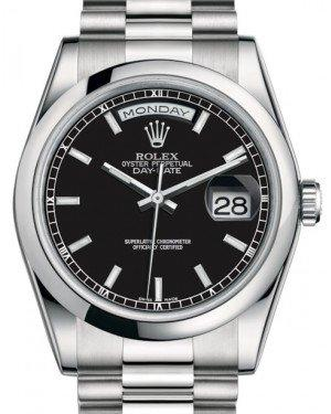 Rolex Day-Date 36 Platinum Black Index Dial & Smooth Domed Bezel President Bracelet 118206 - Fresh