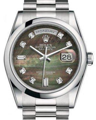 Rolex Day-Date 36 Platinum Black Mother of Pearl Diamond Dial & Smooth Domed Bezel President Bracelet 118206 - Fresh