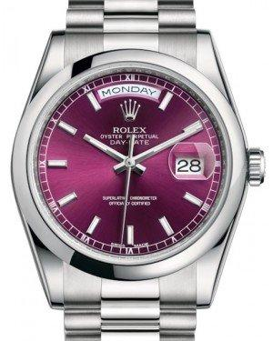Rolex Day-Date 36 Platinum Cherry Index Dial & Smooth Domed Bezel President Bracelet 118206 - Fresh