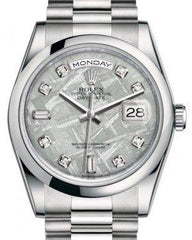 Rolex Day-Date 36 Platinum Meteorite Diamond Dial & Smooth Domed Bezel President Bracelet 118206 - Fresh