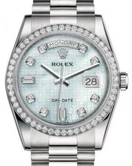 Rolex Day-Date 36 Platinum Platinum Mother of Pearl with Oxford Motif Diamond Dial & Diamond Bezel President Bracelet 118346 - Fresh