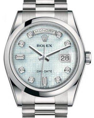 Rolex Day-Date 36 Platinum Platinum Mother of Pearl with Oxford Motif Diamond Dial & Smooth Domed Bezel President Bracelet 118206 - Fresh