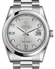 Rolex Day-Date 36 Platinum Rhodium Diamond & Emeralds Dial & Smooth Domed Bezel President Bracelet 118206 - Fresh