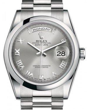 Rolex Day-Date 36 Platinum Rhodium Roman Dial & Smooth Domed Bezel President Bracelet 118206 - Fresh