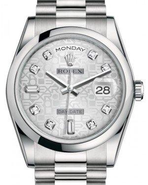 Rolex Day-Date 36 Platinum Silver Jubilee Diamond Dial & Smooth Domed Bezel President Bracelet 118206 - Fresh