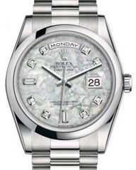 Rolex Day-Date 36 Platinum White Mother of Pearl Diamond Dial & Smooth Domed Bezel President Bracelet 118206 - Fresh