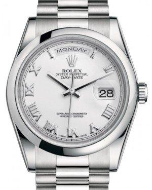 Rolex Day-Date 36 Platinum White Roman Dial & Smooth Domed Bezel President Bracelet 118206 - Fresh