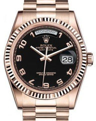 Rolex Day-Date 36 Rose Gold Black Arabic Dial & Fluted Bezel President Bracelet 118235 - Fresh