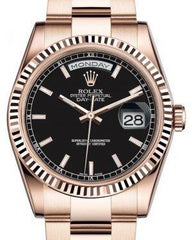 Rolex Day-Date 36 Rose Gold Black Index Dial & Fluted Bezel Oyster Bracelet 118235 - Fresh