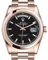 Rolex Day-Date 36 Rose Gold Black Index Dial & Smooth Domed Bezel President Bracelet 118205 - Fresh