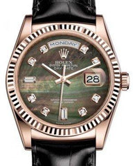 Rolex Day-Date 36 Rose Gold Black Mother of Pearl Diamond Dial & Fluted Bezel Black Leather Strap 118135 - Fresh