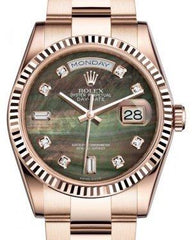 Rolex Day-Date 36 Rose Gold Black Mother of Pearl Diamond Dial & Fluted Bezel Oyster Bracelet 118235 - Fresh