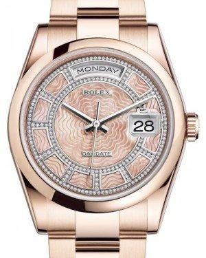 Rolex Day-Date 36 Rose Gold Carousel of Pink Mother of Pearl Diamond Dial & Smooth Domed Bezel Oyster Bracelet 118205 - Fresh