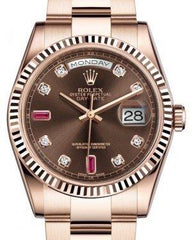 Rolex Day-Date 36 Rose Gold Chocolate Diamond & Rubies Dial & Fluted Bezel Oyster Bracelet 118235 - Fresh