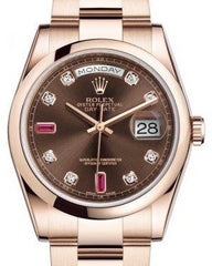 Rolex Day-Date 36 Rose Gold Chocolate Diamond & Rubies Dial & Smooth Domed Bezel Oyster Bracelet 118205 - Fresh