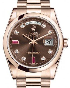 Rolex Day-Date 36 Rose Gold Chocolate Diamond & Rubies Dial & Smooth Domed Bezel President Bracelet 118205 - Fresh