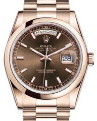 Rolex Day-Date 36 Rose Gold Chocolate Index Dial & Smooth Domed Bezel President Bracelet 118205 - Fresh
