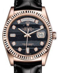 Rolex Day-Date 36 Rose Gold Ferrite Diamond Dial & Fluted Bezel Black Leather Strap 118135 - Fresh