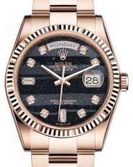 Rolex Day-Date 36 Rose Gold Ferrite Diamond Dial & Fluted Bezel Oyster Bracelet 118235 - Fresh