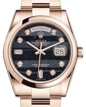 Rolex Day-Date 36 Rose Gold Ferrite Diamond Dial & Smooth Domed Bezel Oyster Bracelet 118205 - Fresh