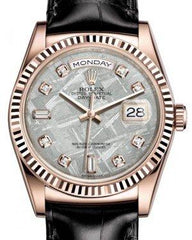 Rolex Day-Date 36 Rose Gold Meteorite Diamond Dial & Fluted Bezel Black Leather Strap 118135 - Fresh