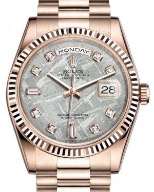 Rolex Day-Date 36 Rose Gold Meteorite Diamond Dial & Fluted Bezel President Bracelet 118235 - Fresh