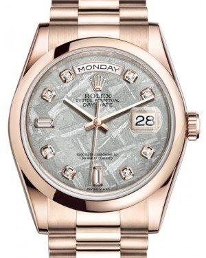 Rolex Day-Date 36 Rose Gold Meteorite Diamond Dial & Smooth Domed Bezel President Bracelet 118205 - Fresh