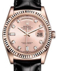 Rolex Day-Date 36 Rose Gold Pink Diamond Dial & Fluted Bezel Black Leather Strap 118135 - Fresh