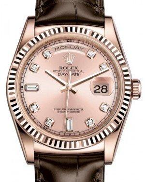 Rolex Day-Date 36 Rose Gold Pink Diamond Dial & Fluted Bezel Tobacco Leather Strap 118135 - Fresh
