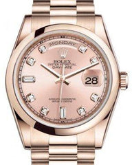 Rolex Day-Date 36 Rose Gold Pink Diamond Dial & Smooth Domed Bezel President Bracelet 118205 - Fresh