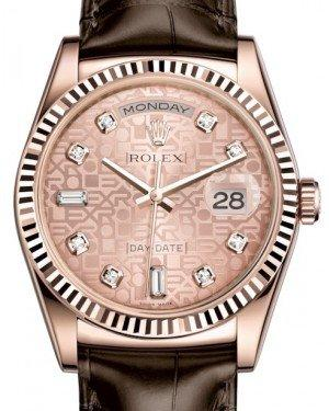 Rolex Day-Date 36 Rose Gold Pink Jubilee Diamond Dial & Fluted Bezel Tobacco Leather Strap 118135 - Fresh
