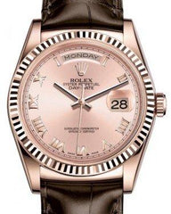 Rolex Day-Date 36 Rose Gold Pink Roman Dial & Fluted Bezel Tobacco Leather Strap 118135 - Fresh