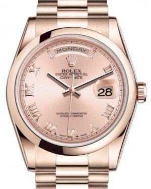 Rolex Day-Date 36 Rose Gold Pink Roman Dial & Smooth Domed Bezel President Bracelet 118205 - Fresh