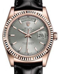 Rolex Day-Date 36 Rose Gold Rhodium Index Dial & Fluted Bezel Black Leather Strap 118135 - Fresh