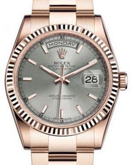 Rolex Day-Date 36 Rose Gold Rhodium Index Dial & Fluted Bezel Oyster Bracelet 118235 - Fresh