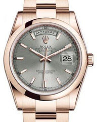 Rolex Day-Date 36 Rose Gold Rhodium Index Dial & Smooth Domed Bezel Oyster Bracelet 118205 - Fresh